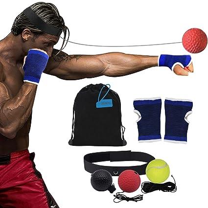 DAZISEN Boxen Training Ball Reflex Fightball Anzug Speed Fitness Punch Boxing Ball mit Kopfband Trainingsger/ät Speedball f/ür Zuhause und Outdoor 7 St/ück Anzug