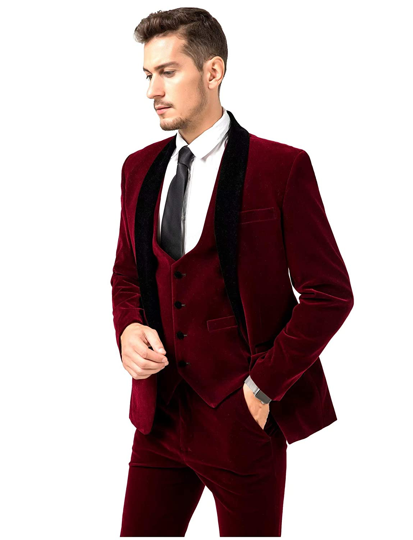 Jingmo Burgundy Royal Blue Black Velvet 3 Piece Suits for Men Classic Tuxedo Blazer Vest Pants