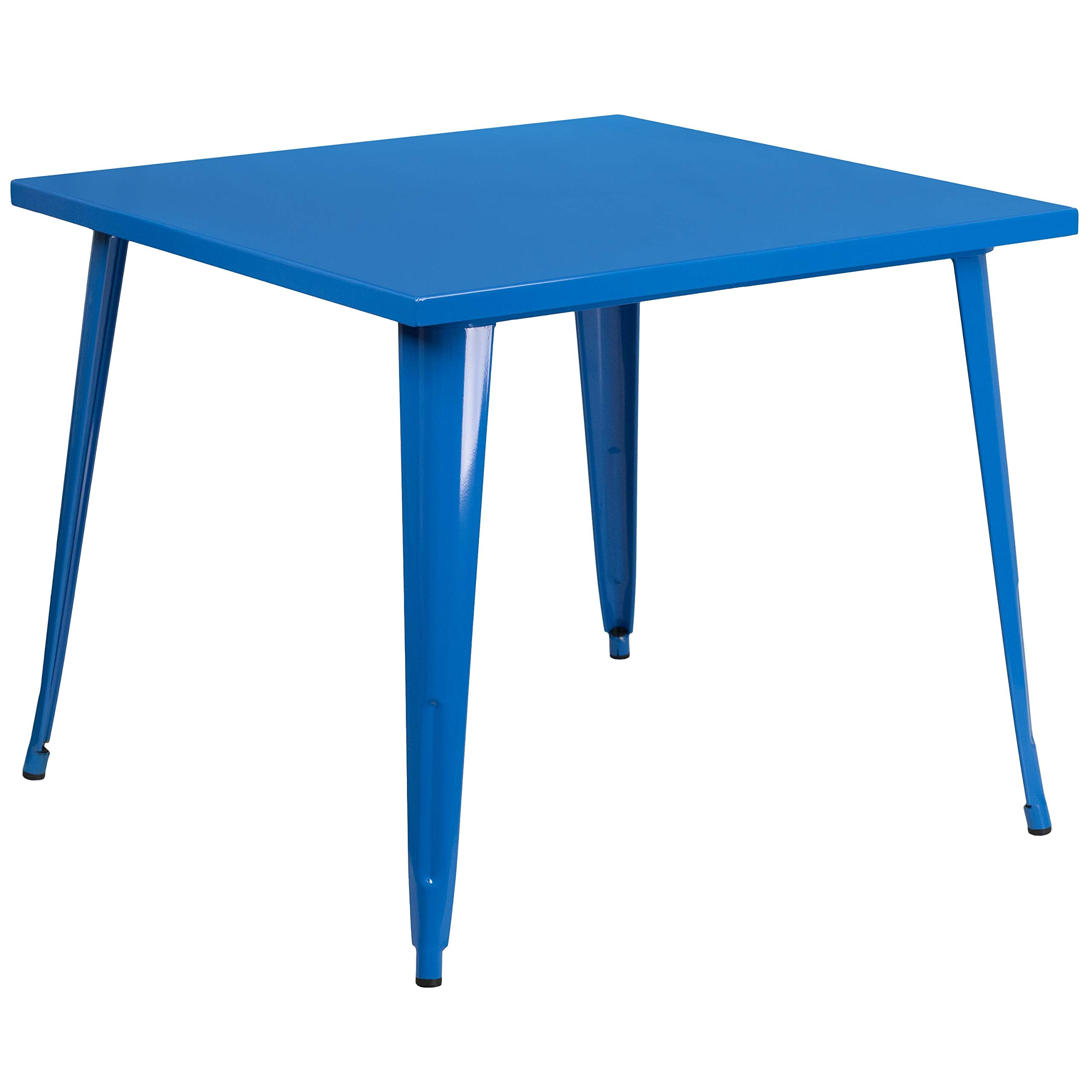 MFO 35.5'' Square Blue Metal Indoor-Outdoor Table by My Friendly Office