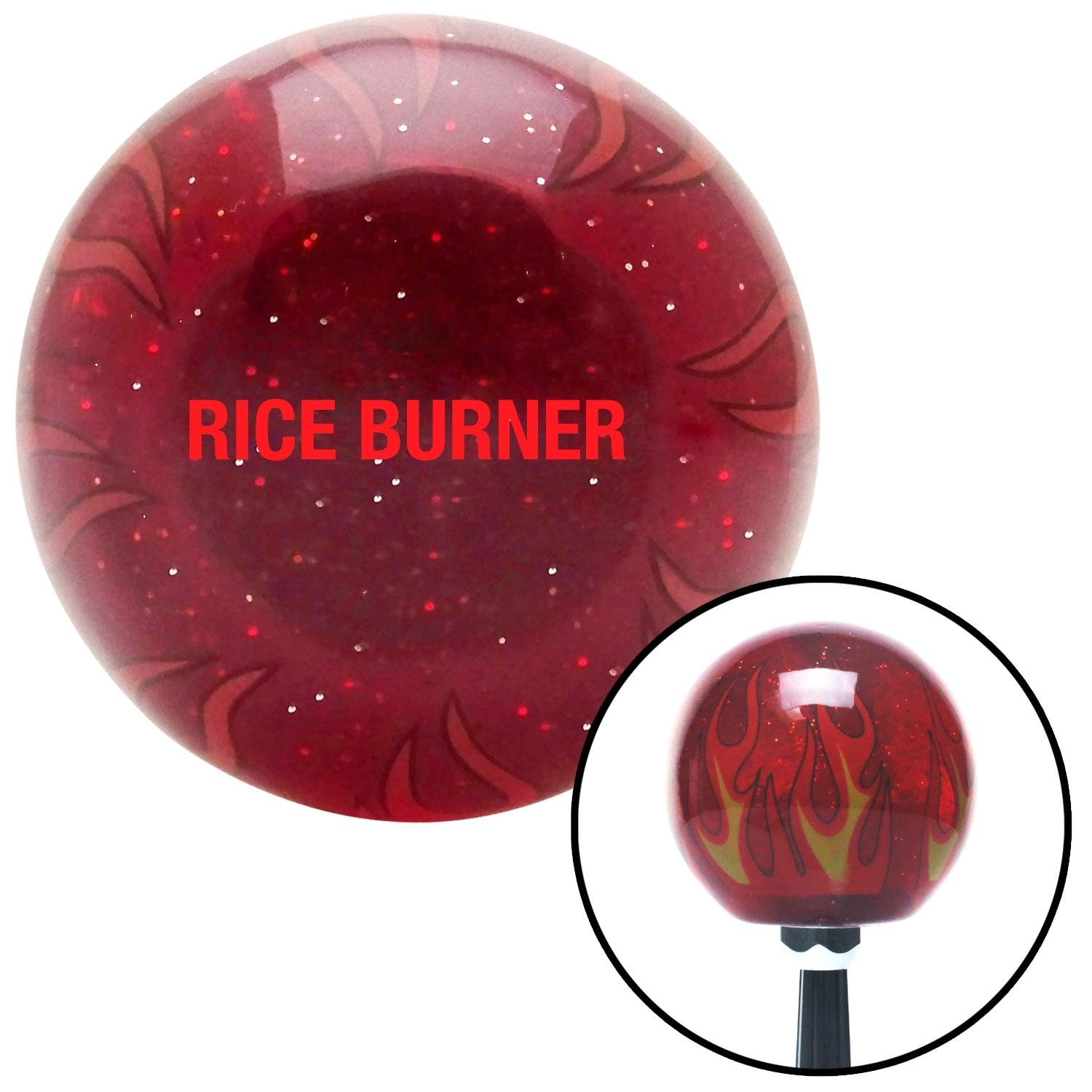 Red Rice Burner American Shifter 240089 Red Flame Metal Flake Shift Knob with M16 x 1.5 Insert