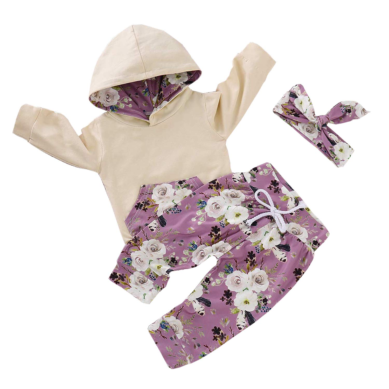 2pcs Infant Toddler Baby Girl Summer Sweatshirt Kangaroo Pocket Floral Hoodie Tops Pants Fall Clothes Set