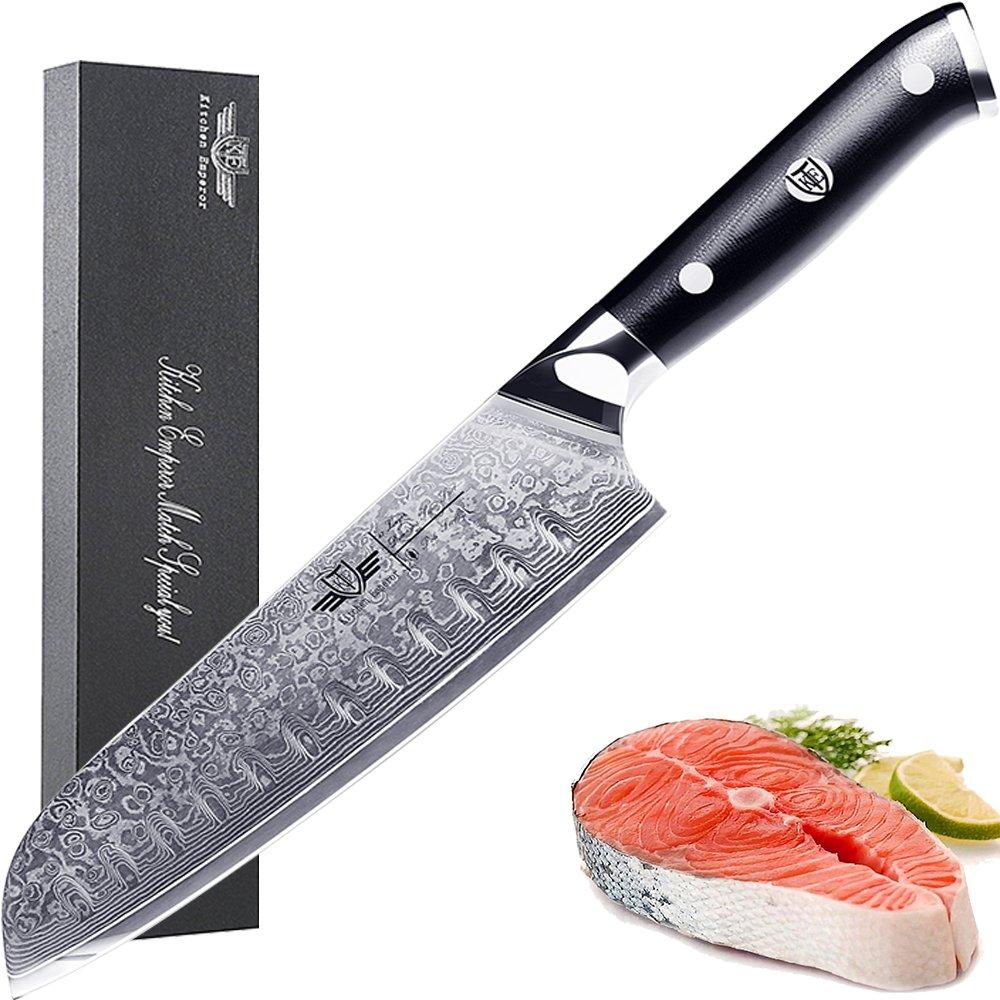 Kitchen Emperor 7 inch Santoku Knife, Japanese Chef Knife, Premium 67 Layers Damascus Steel Kitchen Knives with G10 Handle, Razor Sharp