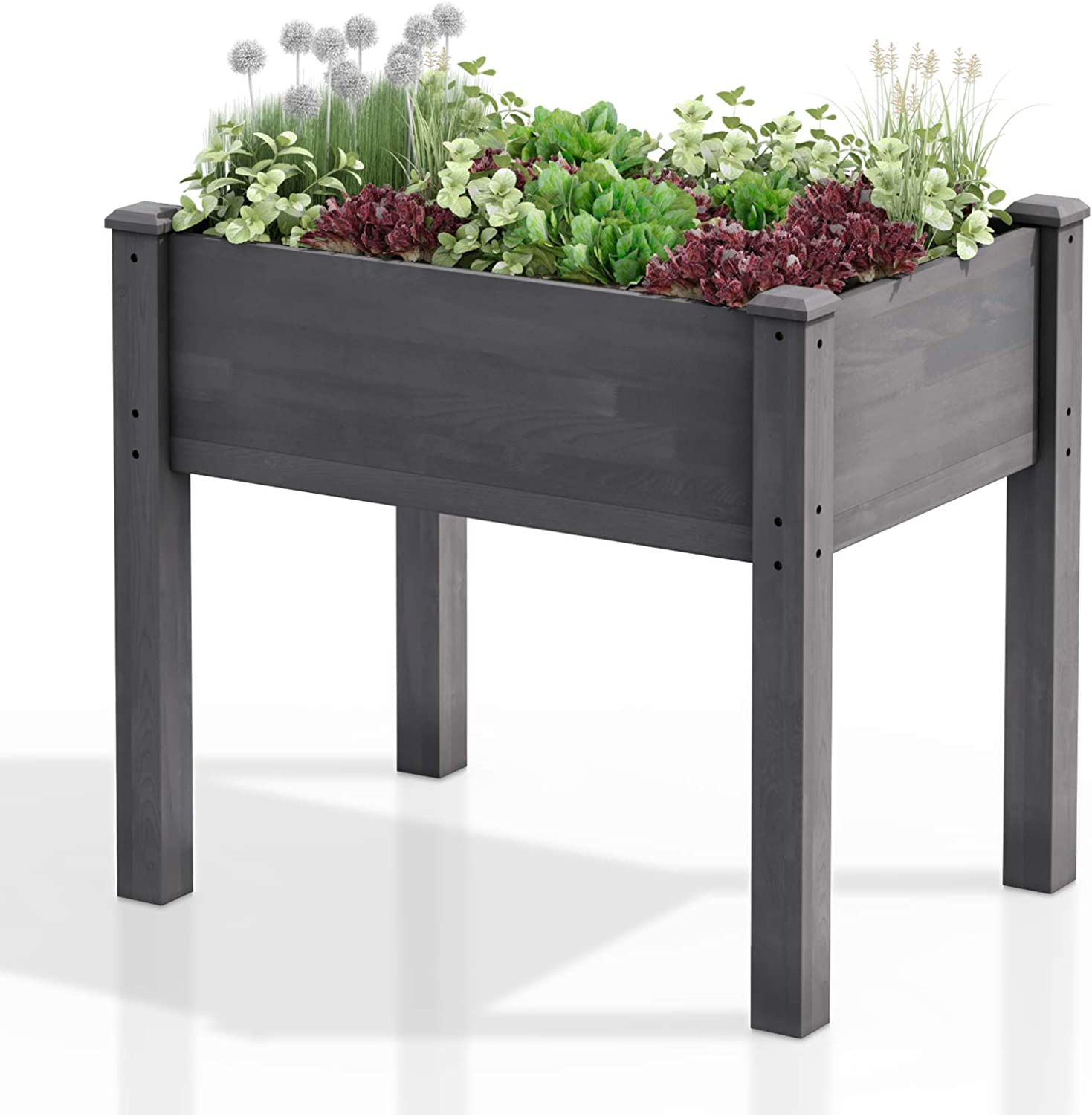 """AMZFINE Heavy Duty Wooden Raised Garden Bed Kit, Solid Wood Elevated Planter Box -34"""" L x 18"""" W x 30"""" H, Grey"""