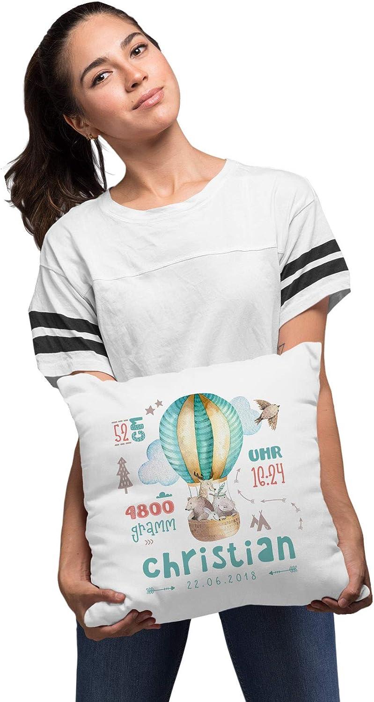 Geschenk Geburt Wunschname Kissen-Bezug ohne F/üllung wei/ß Unisize SpecialMe/® personalisierbares Kissen zur Geburt Hei/ßluftballon Geburtskissen Jungen M/ädchen