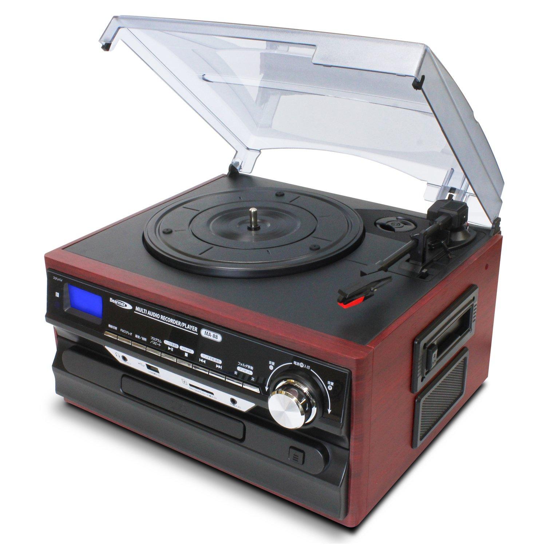 マルチオーディオレコードプレーヤー スピーカー内蔵 レコードプレーヤー 録音 SDUSBメモリ対応   B07PV6R7MP