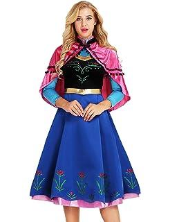 YiZYiF Femme Carnaval Déguisement de Ana Princesse Robe Cérémonie Robe de  Soirée Robe de Partie Robe 1ba4c5eab95d