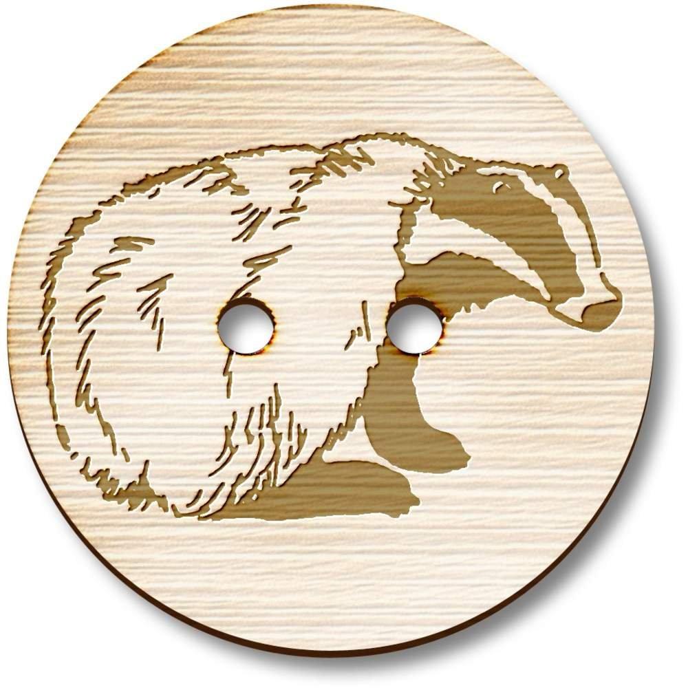 8 x 23mm /'Sitting Badger/' Round Wooden Buttons BT00055601