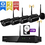 [Audio Compatible & H.265] xmartO 8CH 1080p HD Wireless Surveillance Camera System 1TB with 4pcs 1080p HD Day Night WiFi Cameras, Auto-Pair, NVR Built-in with WiFi Router, Dream Liner WiFi Relay