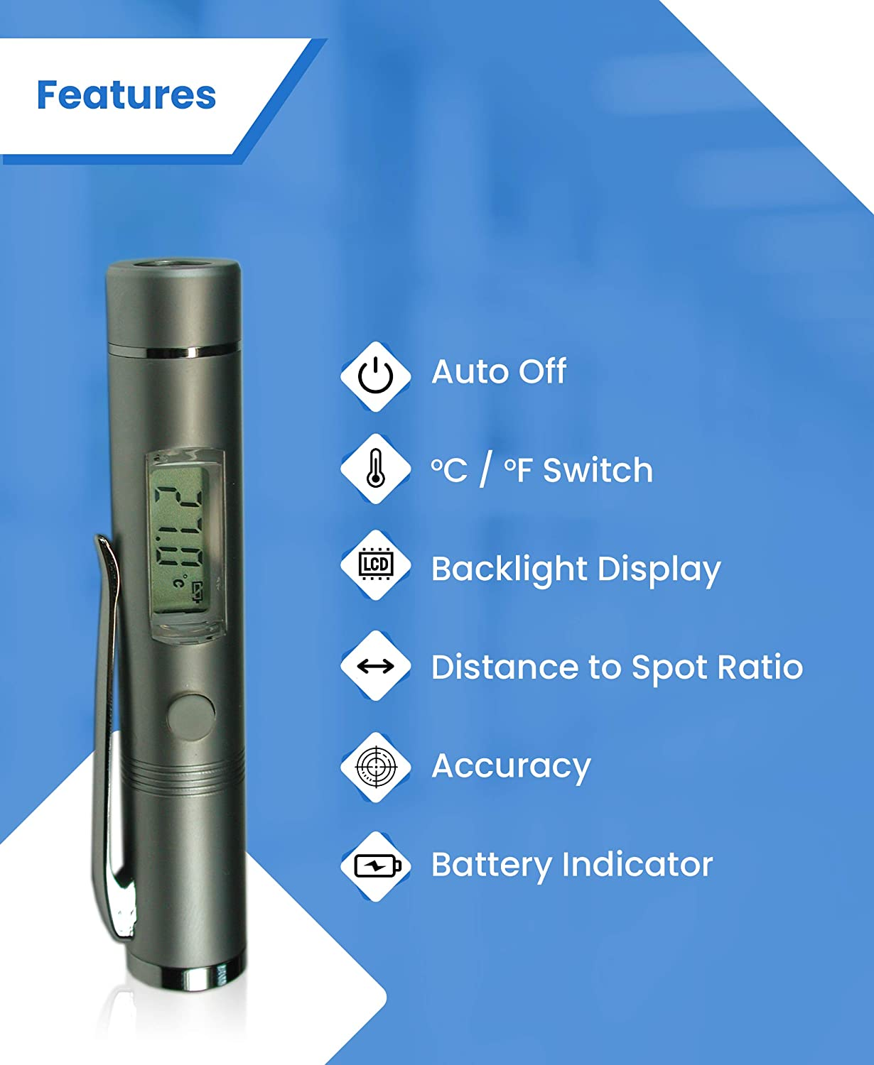 27o to 428o F 1:1 D:S Ratio Small -33o to 230o C Inside Car Metris Instruments Model TN002PC Non-Contact Mini Digital Laser Infrared Thermometer Professional-Grade- // Test Temp of Sand Coffee