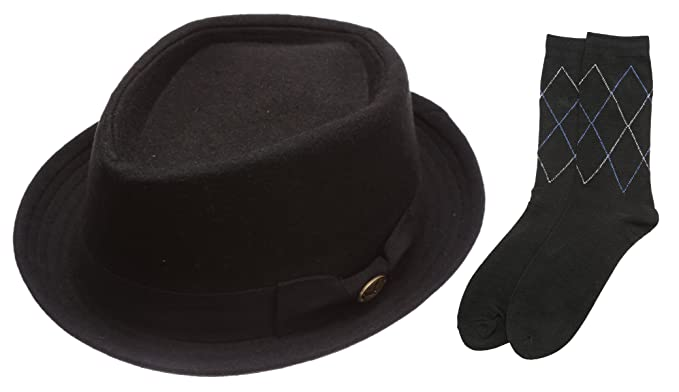 50a338976d377 Men s Winter Vintage Wool Porkpie Short Brim Fedora Hat and Feather with  Socks.(2292
