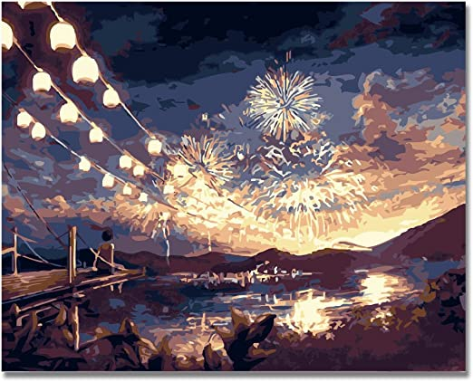 Lcgbw Diy Oil Painting By Numbers Canvas Fireworks With Brushes And Acrylic Paints For Adults Kids And Beginner Home Decor16X20 Inch 40X50 Cm Unframed