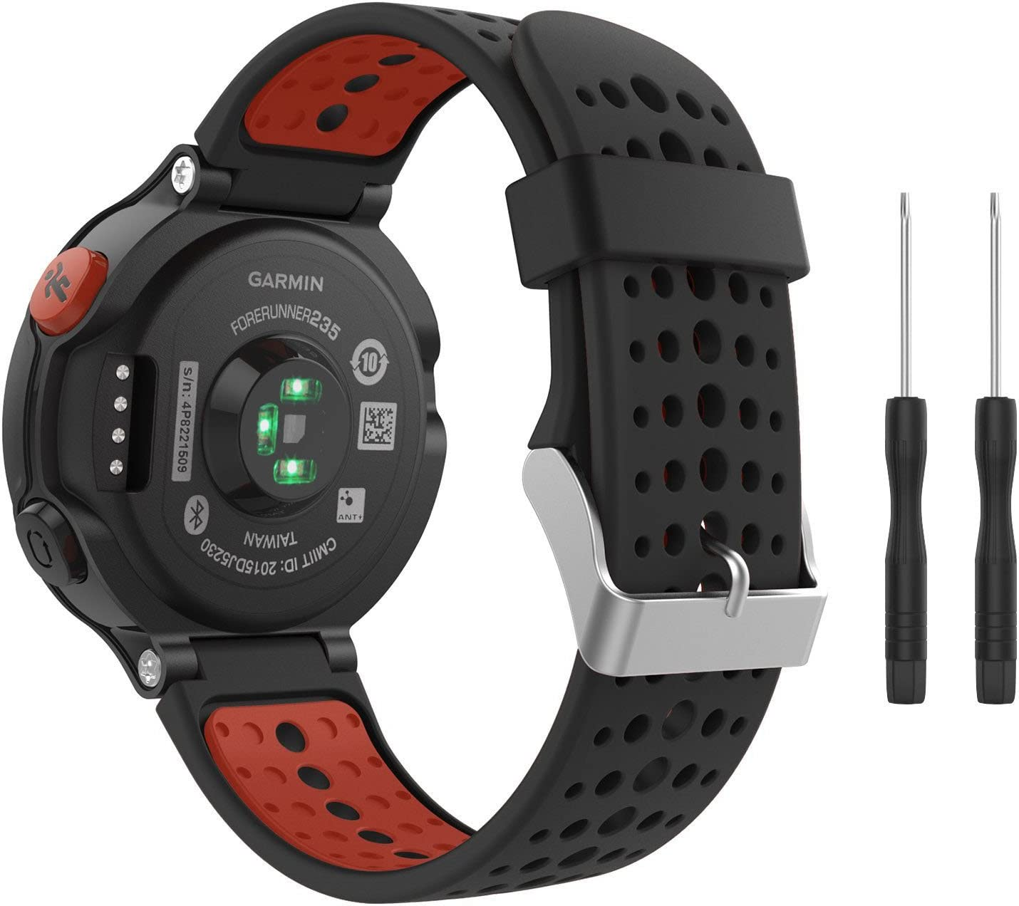 Correa de reloj de silicona suave para Garmin Forerunner 235 de Fit-power, repuesto ideal para Garmin Forerunner 235, 220, 230, 620, 630 y 735