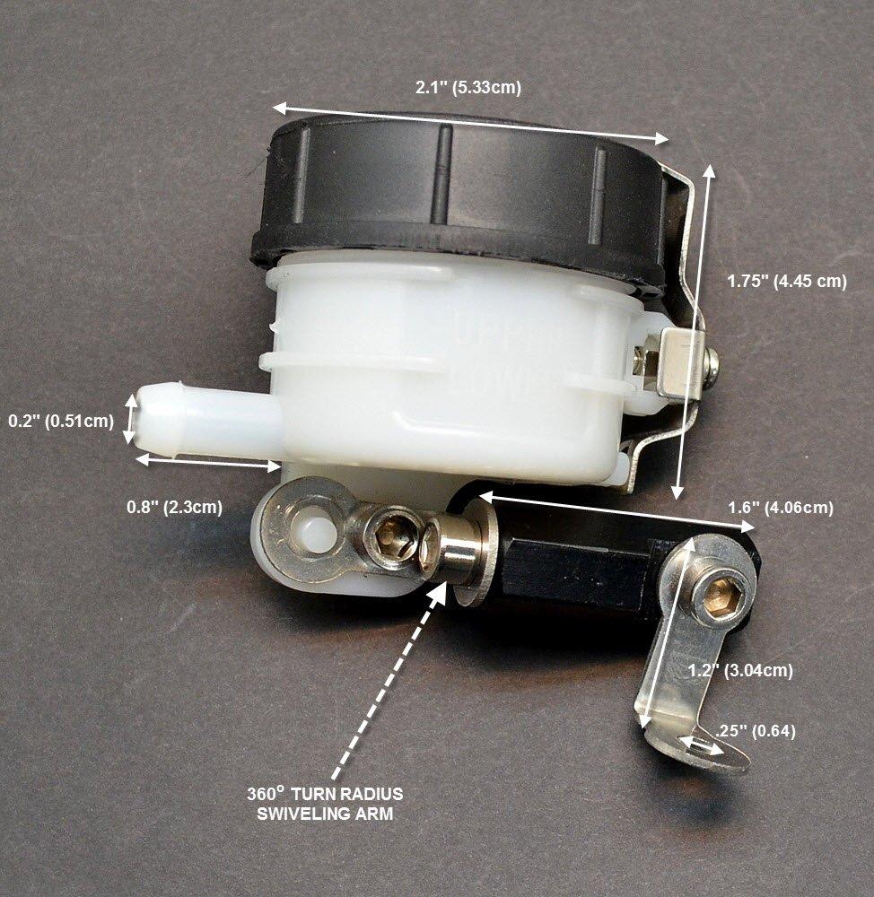 Brake Reservoir Front Fluid Bottle Slim Style Motorcycle Master Cylinder with Adjustable Mounting Bracket Universal Honda CBR 600 1000 F4 F4i 929 954