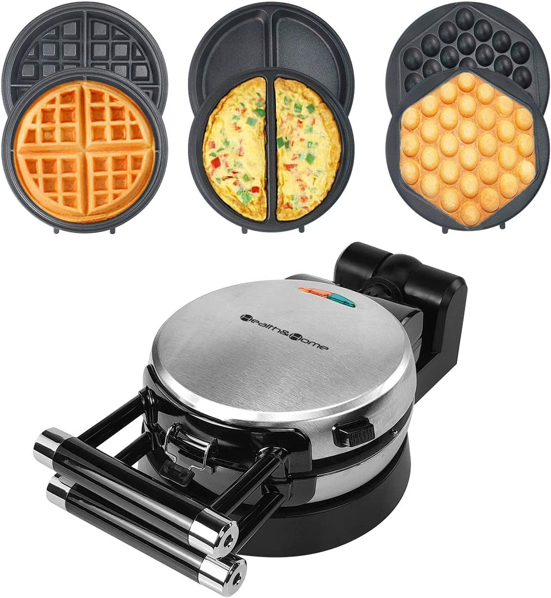 Health and Home 3 Interchangeable Baking Plates for Making waffles, Eggette, Omelet, Upgrade 360 Rotating Belgian Multifunction Nonstick Baking Maker.