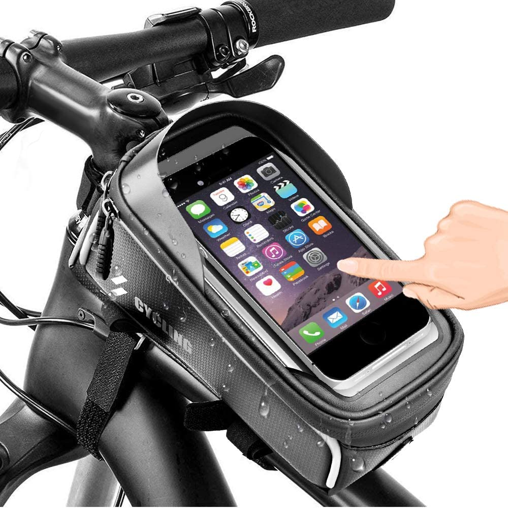 Bicycle Front Frame Bags, Waterproof Cycling Phone Mount Touch Screen Bike Phone Front Frame Bag with Sun Visor Large Capacity Compatible with iPhone 7plus 8plus X XS Max XR : Sports & Outdoors