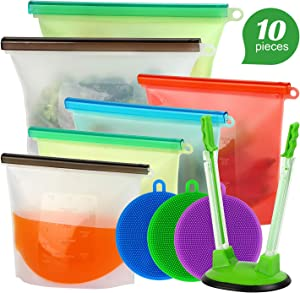 Reusable Silicone Food Storage Bags, Airtight Seal Food Preservation Bags Grade Silicone bags for Vegetable Snack Sandwich 2x Large 50oz, 4x Media 33oz,1x bag holder, 3x Silicone dishwashing brush