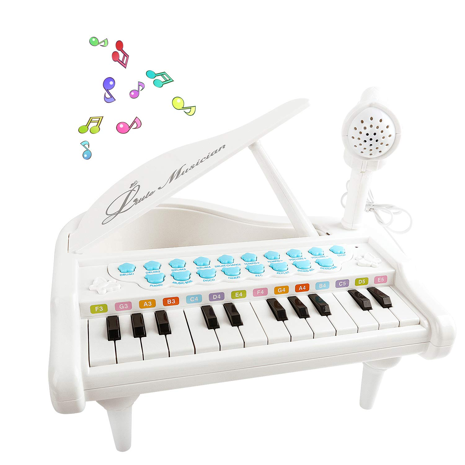 Mini Piano for 3-6 Year Old Girls, 24 Key Grand Keyboard Piano Music ...
