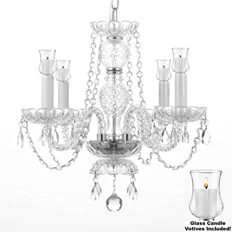 Crystal Chandelier Lighting Chandeliers W/ Candle Votives H 17u0026quot; X W  17u0026quot;  For