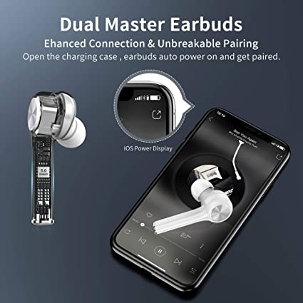 Bluetooth Headphones In Ear, Wireless Bluetooth Earphones Sports True Wireless Earbuds, 40H Playtime with Dual-Mic Crystal Stereo Type-C Port Touch Control for Running Gym