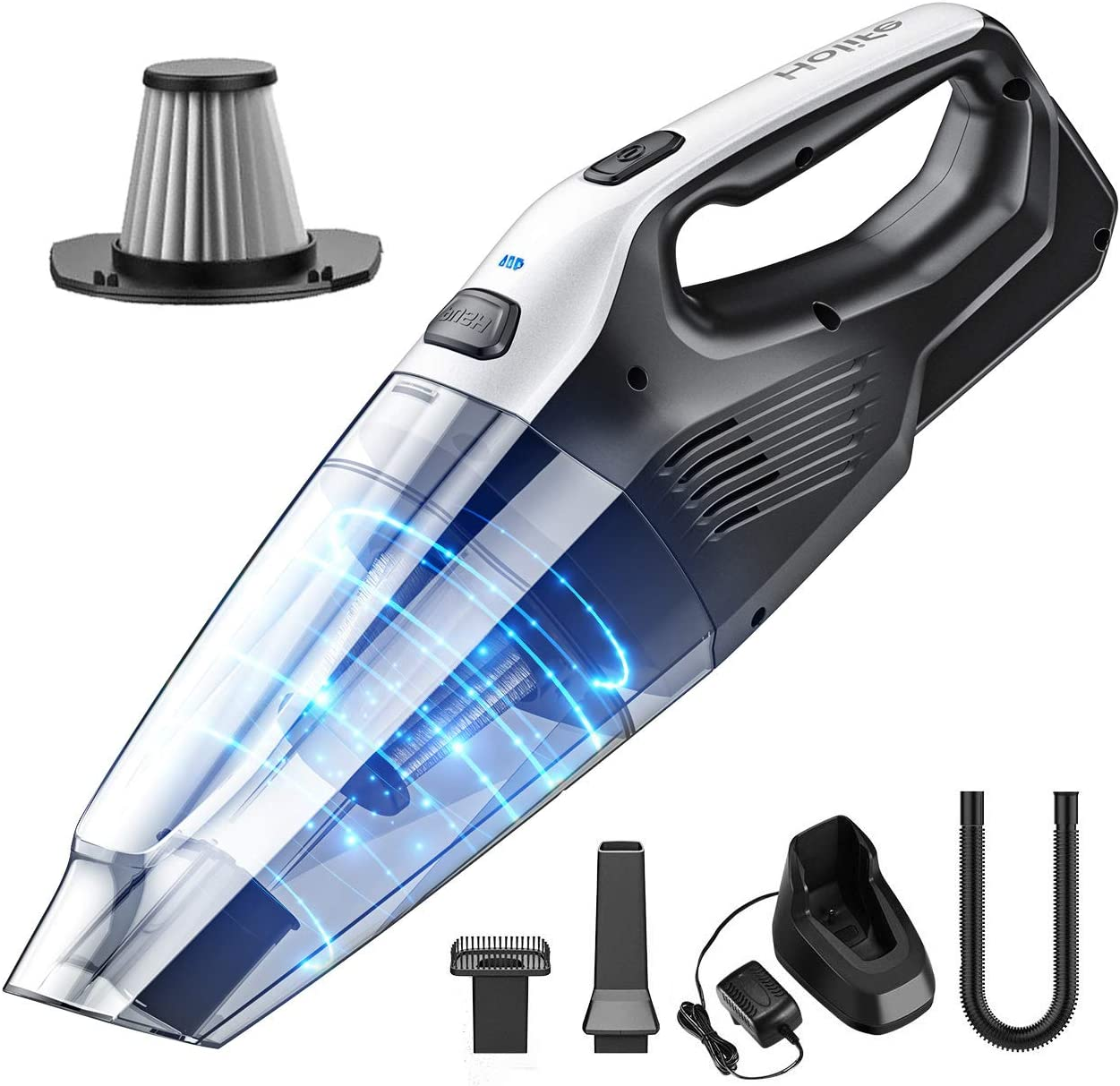 Holife Handheld Cleaner Cordless, 7kpa Portable Hand Vacuum with Replaceable Battery and Stainless Steel Filter Quick Charge Tech for Pet, Hair, Home, Office, Car Cleaning, Grey