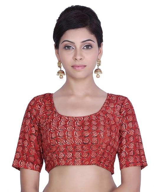 Jaipur Kala Kendra rojo costura impreso algodón tela de boda de la mujer blusa Crop Top