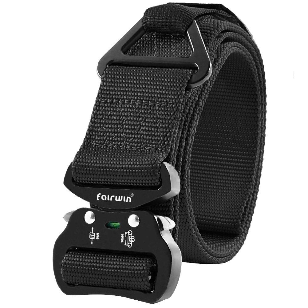 Fairwin cintura tecnica, cinghia CQB da rigger, cintura regolabile in stile militare, fibbia molto resistente per attività all'aperto, in metallo con anello triangolare a V
