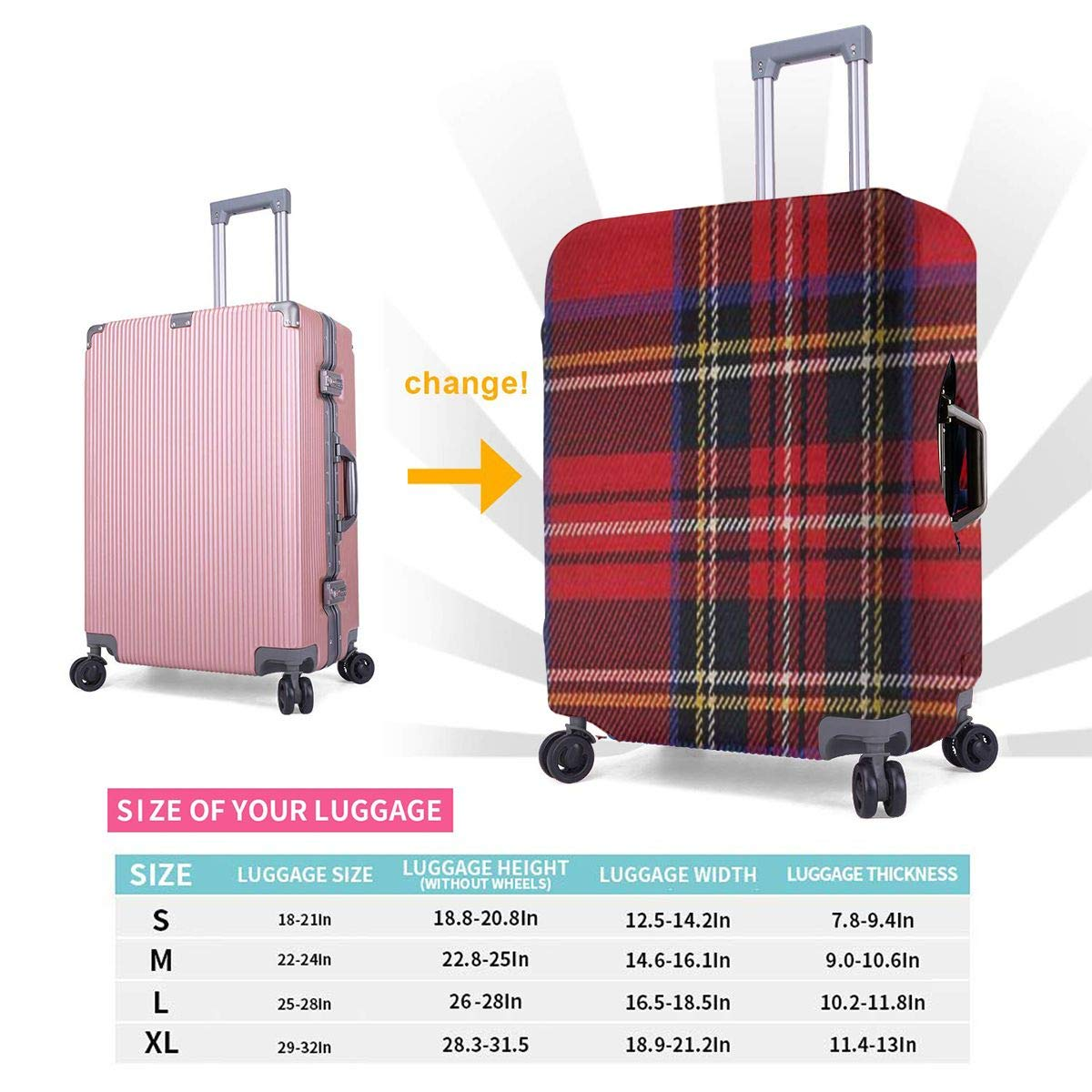 Red Buffalo Plaid Travel Luggage Cover Suitcase Protector Washable Zipper Baggage Cover