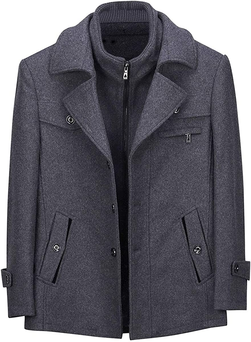 Allthemen Mens Wool Trench Coat Short Winter Warm Woolen Business Jacket with Free Detachable Soft Touch Wool Scarf Grey