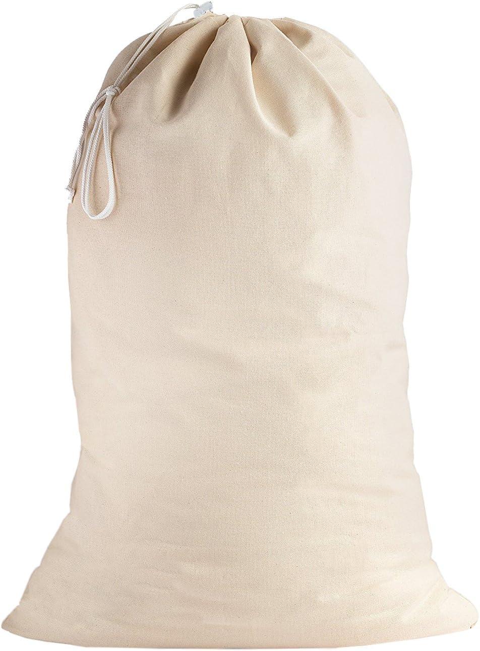 SweetNeedle - 100% algodón Bolsas de lavandería Extra Grandes y Deber Pesadas en Color Natural - 71 CM x 91 CM (28 IN x 36 IN) - Muy duraderas, con cordón, Lavables a máquina y Reutilizables