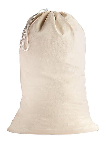 SweetNeedle - 100% algodón Bolsas de lavandería extra grandes y deber pesadas en color natural - 71 CM x 91 CM (28 IN x 36 IN) - Muy duraderas, con ...