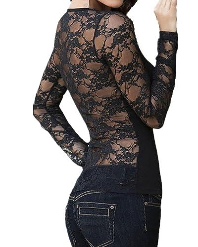 StyleDome Donna Camicetta Pizzo Maglietta Maglia Blusa Manica Lunga Elegante Sexy Casual Girocollo