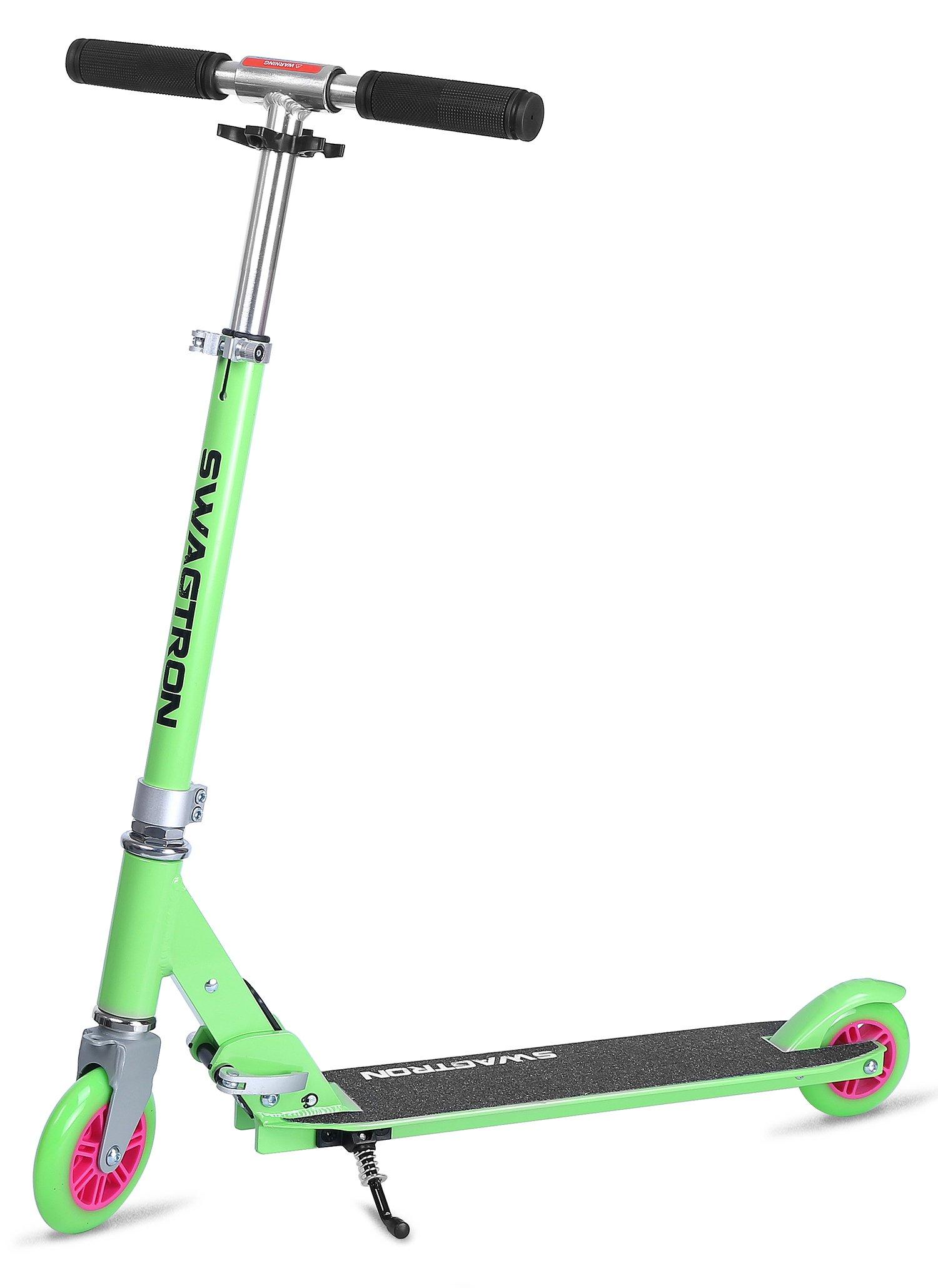 K1 Girl or Boy Kick Scooter 2 Wheel Adjustable 40'' Kids up to 72'' Teens, 220Lb Weight Limit, ABEC-9 Bearings, Lightweight 6.42Lbs, Next Gen Fold-n-Lock System + Kickstand (Green/Pink) by Swagtron