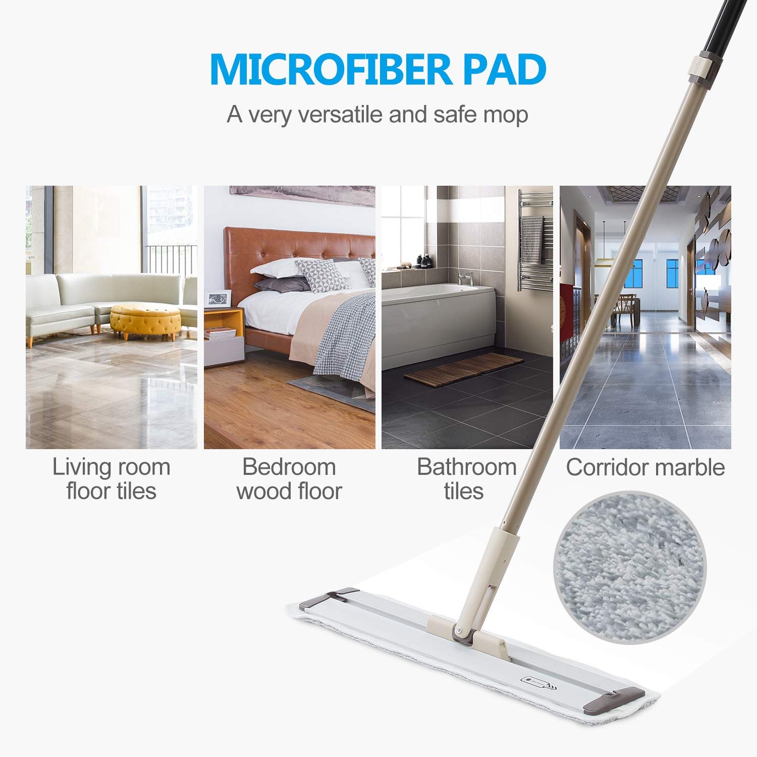 Super Decontamination pad-A Magical Flat Mop Can 360 Degree swivel-Extra A Multifunctional Scraper With Two Reusable Microfiber Pads E.yliden Rod Length Adjustable