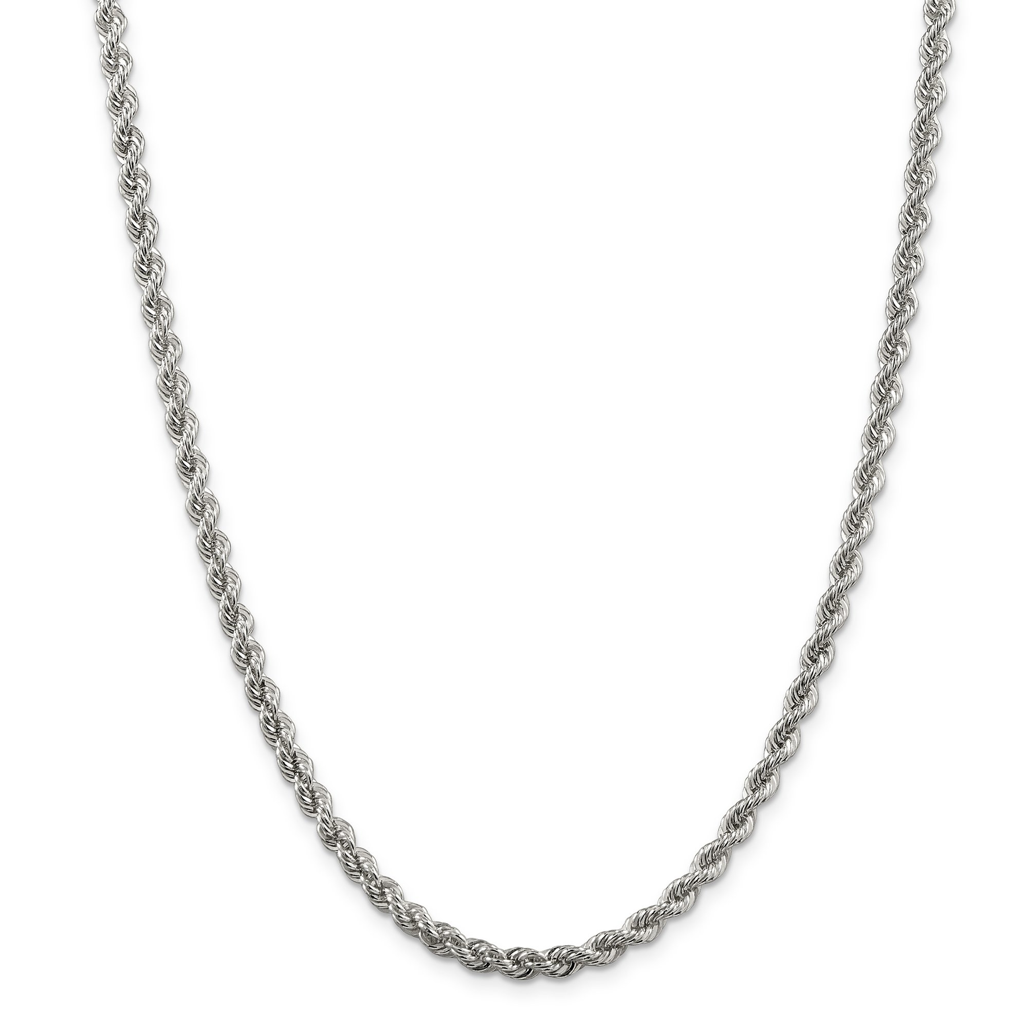 ICE CARATS 925 Sterling Silver 4.5mm Solid Link Rope Chain Necklace 22 Inch Regular Fine Jewelry Gift Set For Women Heart
