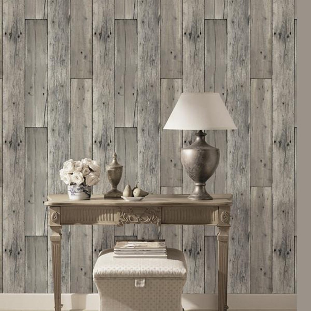 HaokHome 8E022 Woods Textured Wallpaper Roll Gray Wood Panel Home Room Wall Decoration 208 X 33ft