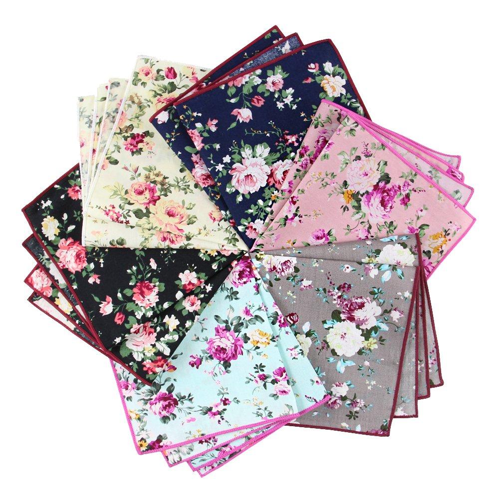 6 Pcs Men's Handkerchiefs Cotton Floral Pocket Squares for Men Ladies Hankies by MarJunSep (Image #5)