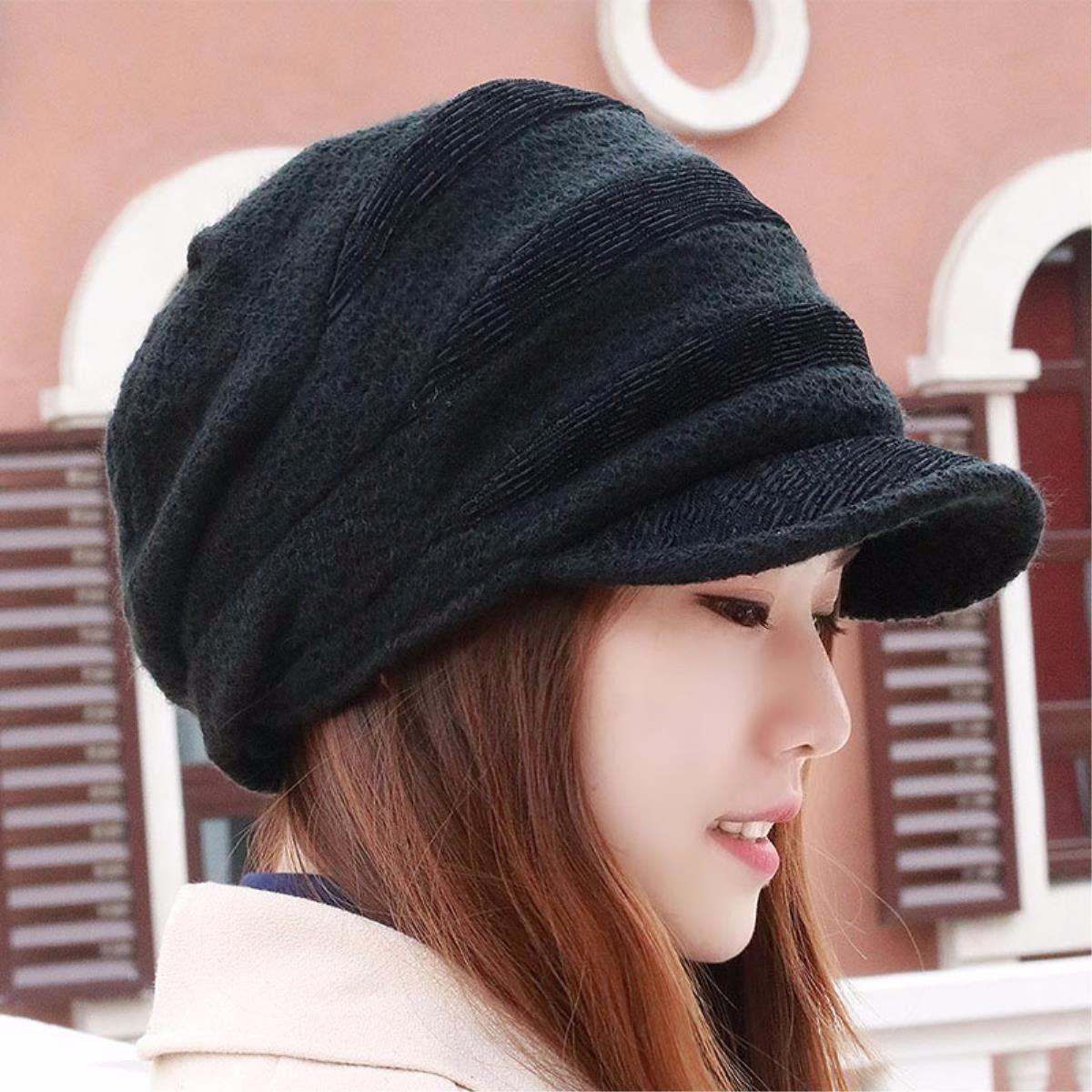 LONFENN Ladies Women Hats Thick Autumn and Winter Ear Hat Knitting Hat Warm Cap Black Large Code