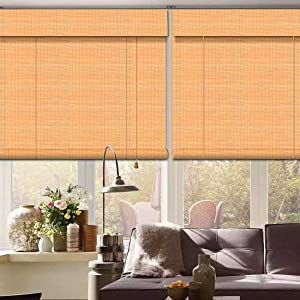 Bamboo Roll Up Window Blind, 36x70inch Natural Roman Bamboo Sun Shade Light Filtering Roller Shades with Valance Indoor Outdoor Use for Room