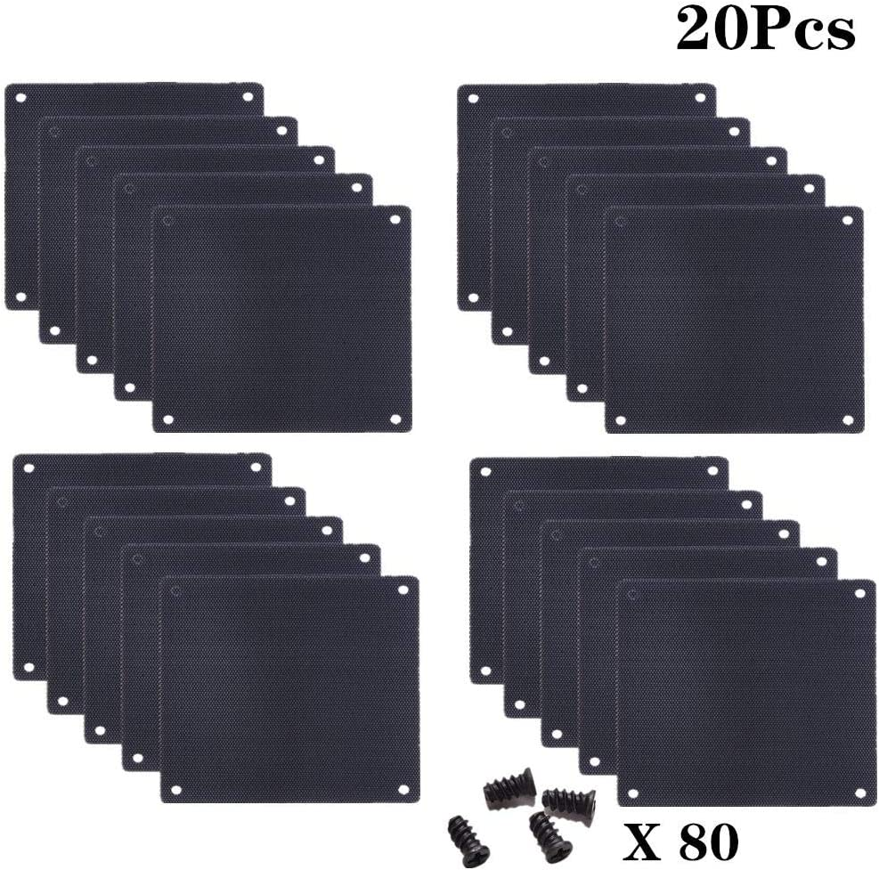 WayJaneDTP 20Pack 120mm Cooler Fan Dustproof Case Cover Dust Filter Mesh Cover for Computer PC with 80pcs Screws