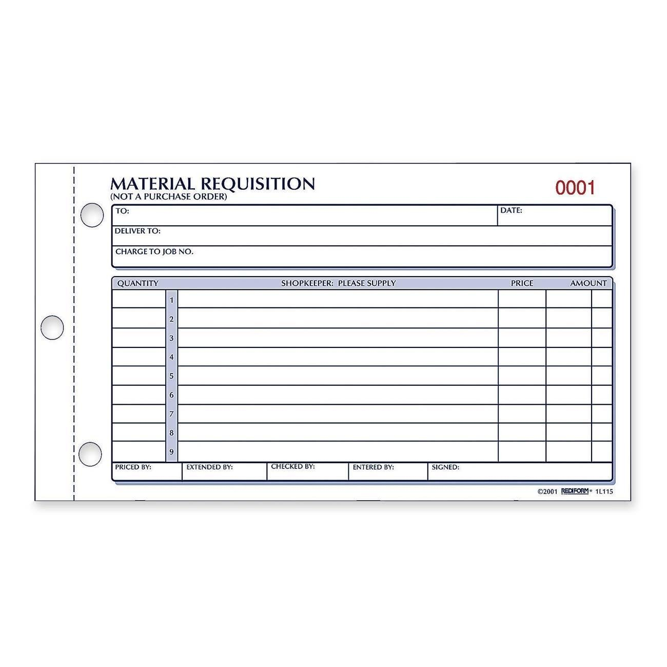 Amazon.com : Rediform Material Requisition Book, Carbonless, 2 ...