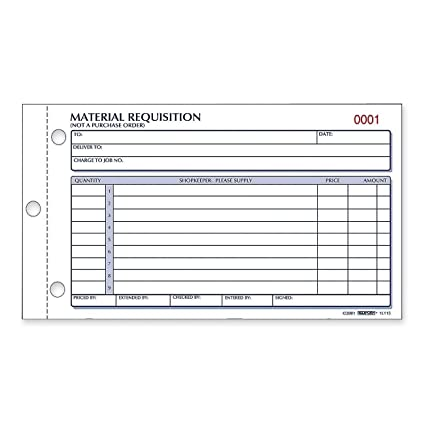 Rediform Material Requisition Book Carbonless  Part  X