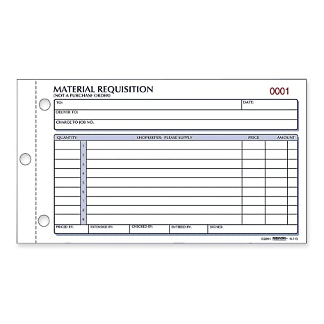 Material Requisition Book, 4 1/4 x 7 7/8, Two-Part Carbonless, 50 ...