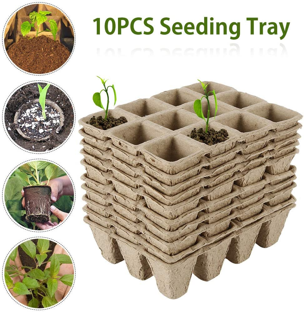 Yours Bath Seed Starter Trays Seeding Tray Pots Square Wood Peat Cells with Holes 17 pcs Compostable Biodegradable Eco-Friendly Compost