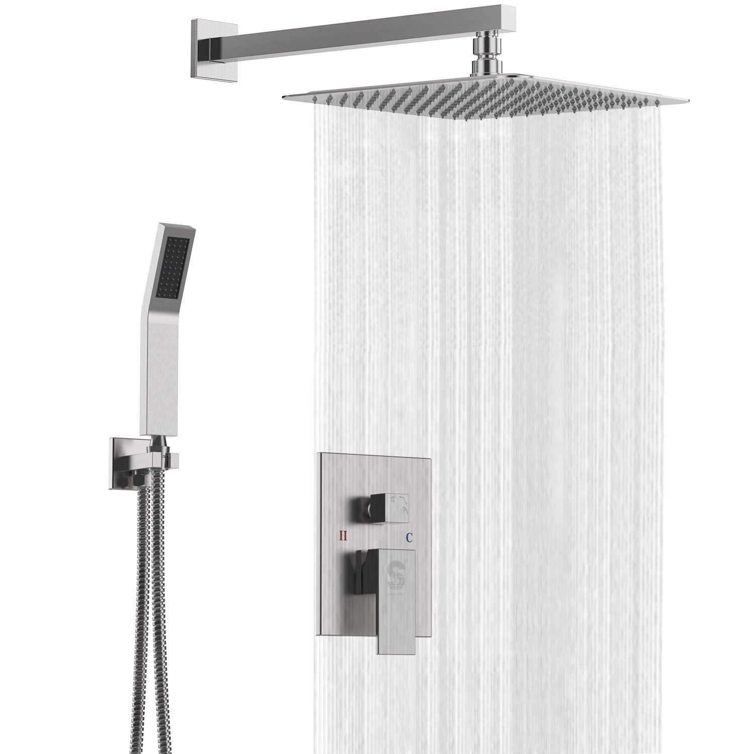 Contain Shower Faucet Rough-in Valve Body and Trim SR SUN RISE 10 Oil Rubbed Bronze Shower System Brass Bathroom Rain Mixer Shower Faucet Set Wall Mounted Rainfall Shower Head System,CA-ORB1003