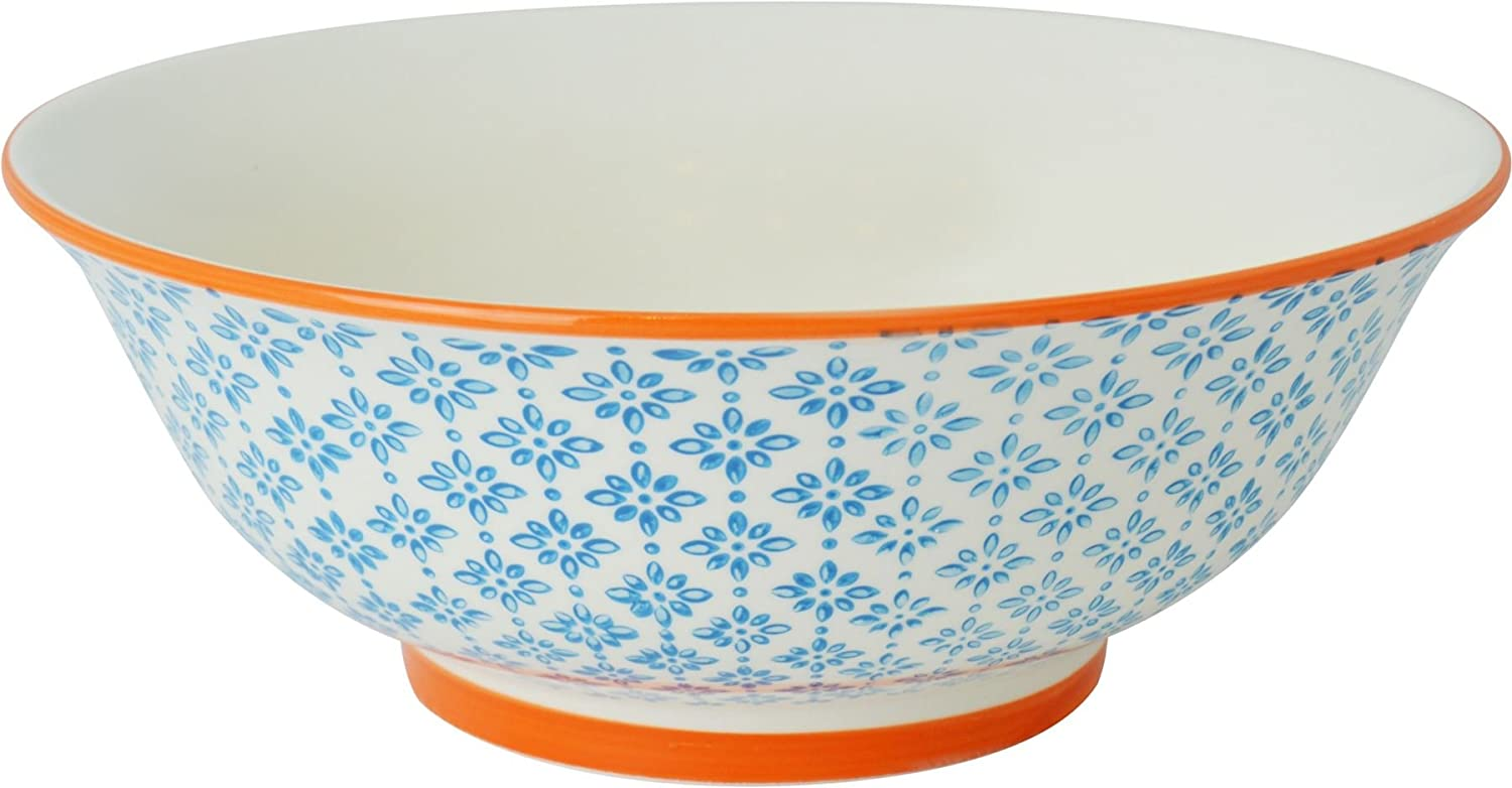 Nicola Spring Patterned Salad / Fruit / Serving Bowl - 203mm (8 Inches) - Blue / Orange Design