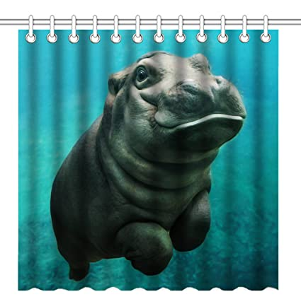 Wknoon 72 X Inch Shower CurtainCute Baby Hippo In The Navy Sea