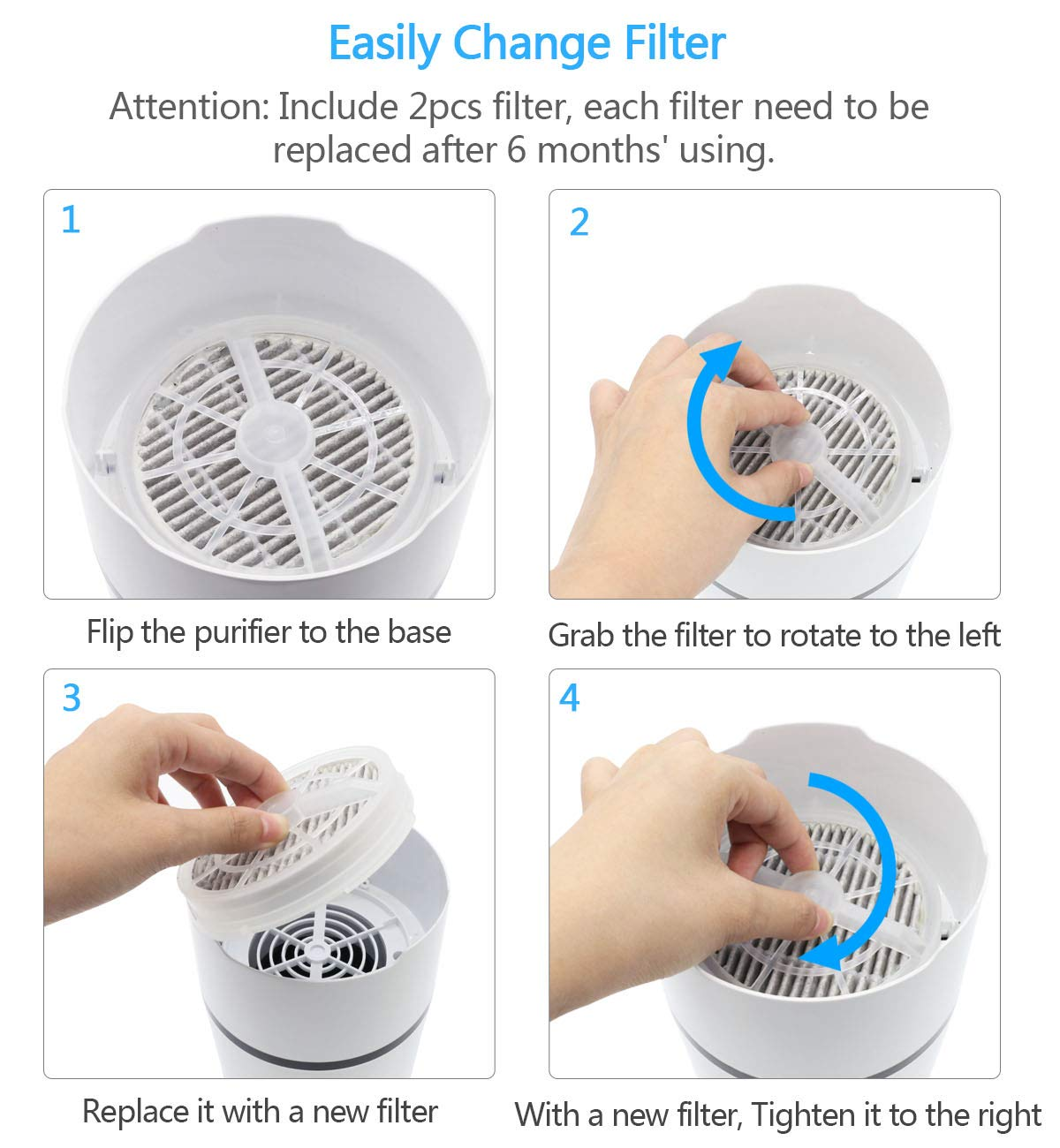 Desktop Air Purifier with 2Pcs HEPA Filters Replaced Pet Dander Portable Air Cleaner with Night Light for Home Bedroom Office Car Allergies Remove Pollen Dust Smoke