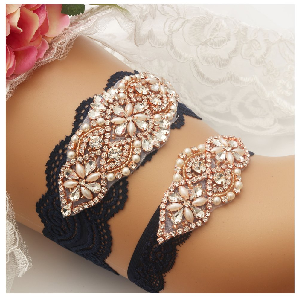 Yanstar Wedding Bridal Garter Navy Stretch Lace Bridal Garter Sets with Rose Gold Rhinestones Clear Crystal Pearl for Wedding