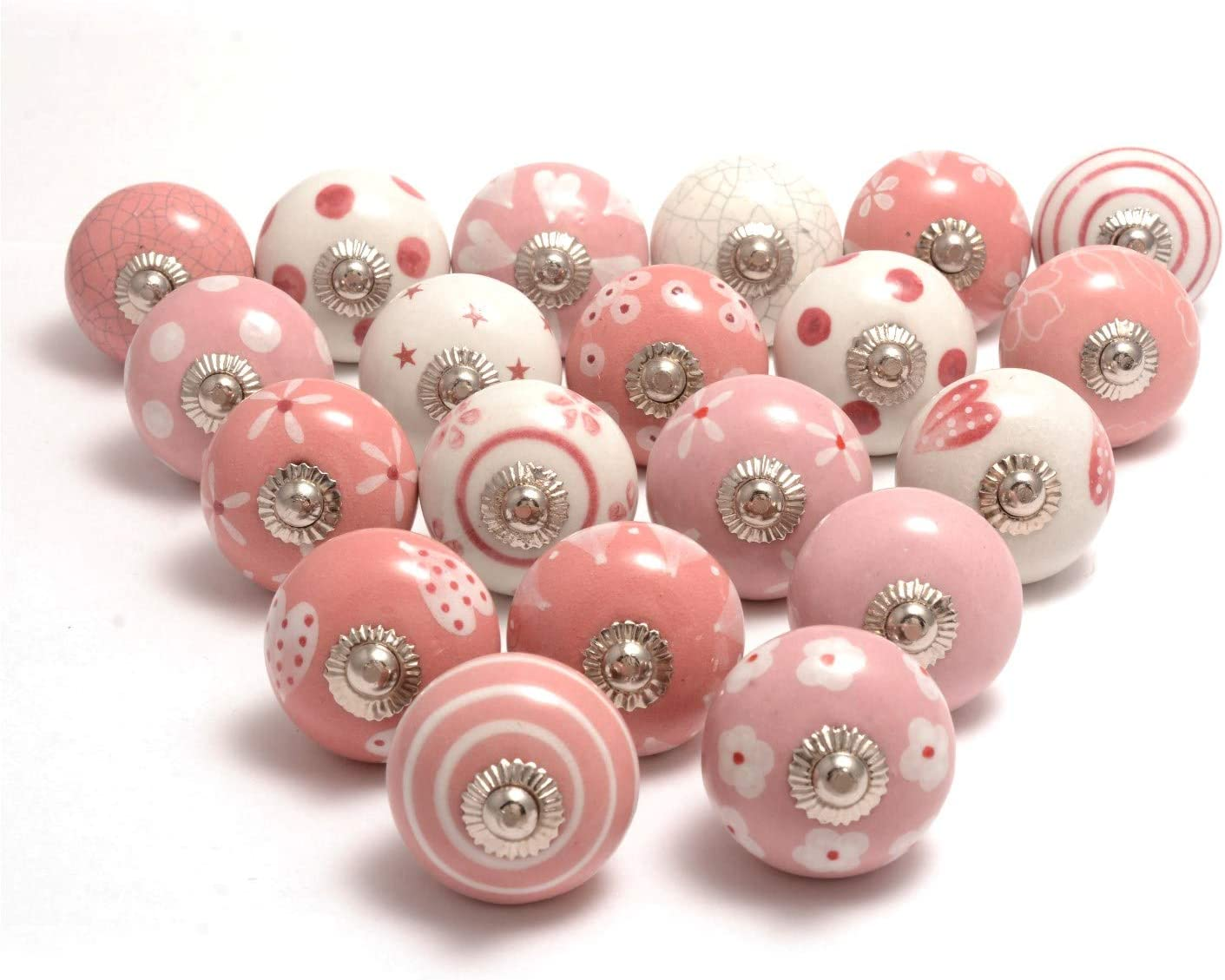 x12 Pink Glass Door Knob Cabinet Drawer Handle Set Vintage Star Design