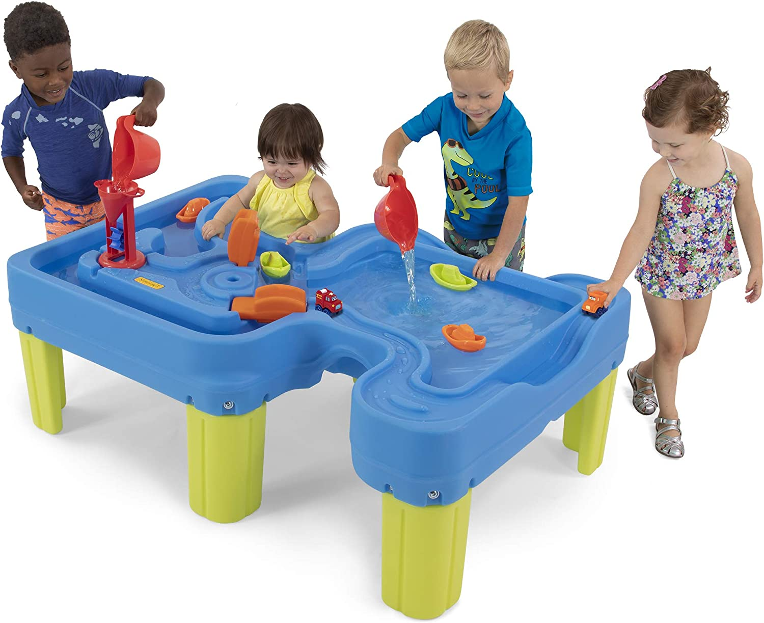 "Simplay3 Big River and Roads Outdoor Water Activity Play Table with Water and Track Toys for Toddlers and Kids, Accessories Included - 44.5"" L x 29"" W x 14"" H"